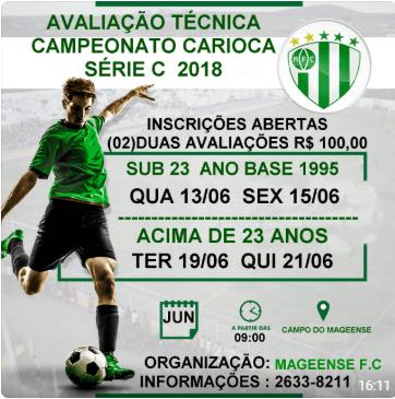 Mageense Futebol Clube inicia avaliação Técnica para Carioca série C ... e830bc6e4cf02